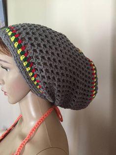 e2123c71722 Large to xlarge Rasta slouchy hat. Fits long dreadlocks. Light Slouchy Hat
