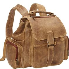 Le Donne Leather Distressed Leather Multi Pocket Back Pack Tan * Find out more about the great product at the image link.(This is an Amazon affiliate link and I receive a commission for the sales)