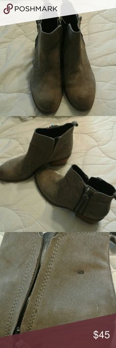 Gorgeous  Guess Suede Taupe booties. Guess Suede Taupe booties. Worn only a few times. One spot on the shoe, possibly glue, otherwise excellent condition. I already waterproofed them. Guess  Shoes Ankle Boots & Booties