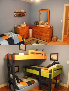 Before & After: triple bunk beds for boys room