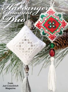 Hardanger Ornament Duo from the Nov/Dec 2015 issue of Just CrossStitch Magazine. Order a digital copy here: https://www.anniescatalog.com/detail.html?prod_id=128138