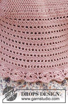 Country Rose / DROPS 138-6 - Horgolt DROPS kardigán Cotton Light és Glitter fonalból. S-XXXL méret.
