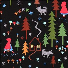 black Little Red Riding Hood tree fabric Timeless Treasures - Fairy Tale Fabric - Fabric - kawaii shop modeS4u