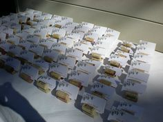 Name cards in slitted corks