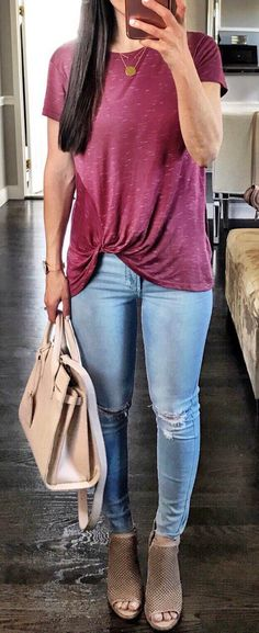 #spring #outfits Pink Tee + Ripped Skinny Jeans + Camel Open Toe Booties