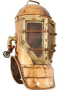 Militaria:Helmets, copper Diving Helmet: Shallow Water Miller-Dunn Navy Style 2 Divinhood....