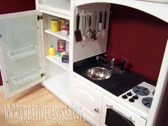 Play Kitchen Fridge Ideas.. i'm so doing this when i have kids