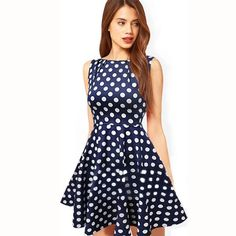 Cheap dresses sexy dress, Buy Quality summer dress directly from China dot dress Suppliers: Summer Dresses 2017 New sleeveless Vestidos A Line SkaterDress Women Summer Retro Party Vintage Polka Dot Dress sexy dress Plus Size Dresses, Short Dresses, Summer Dresses, Sleeveless Dresses, Chiffon Dress, Pleated Dresses, Mini Dresses, Pretty Dresses, Beautiful Dresses