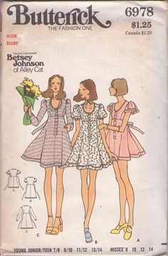 Butterick 6978 Vintage 70's Sewing Pattern ADORABLE Young Designer Betsey Johnson of Alley Cat Scoop Neck Button Band Flirty Flared Skirt Tie Back Mini Dress, 3 Sleeves