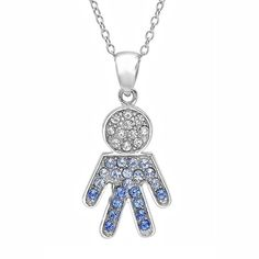 Sterling Silver Blue and White Crystal Boy Pendant with Swarovski Elements