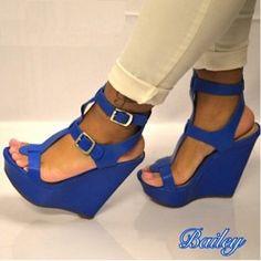 Bailey - Blue Open Toe Platform Buckle Accent Wedge $34.99