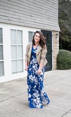 Floral Maxi Dress + Faux Leather Jacket - via @maeamor