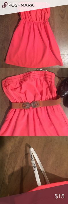 Coral strapless dress, Size S Bought from Nordstrom BP department. Worn 2-3 times, no rips, stains or flaws. Elastic gathered waistband looks cute with or without belt (belt not included). Cute pleated neckline. Mimi Chica Dresses Strapless