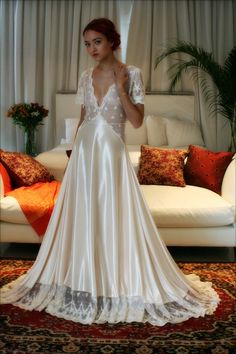 Bridal Nightgown Amelia Satin Embroidered Lace Wedding Lingerie Bridal Sleepwear Champagne Satin Bridal Gown Trousseau Sleepwear Honeymoon by SarafinaDreams on Etsy https://www.etsy.com/listing/261580749/bridal-nightgown-amelia-satin
