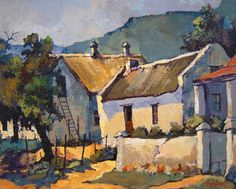 Ted Hoefsloot - Cottages at Genadedal x (SOLD) Watercolor Landscape, Landscape Art, Landscape Paintings, South African Artists, House Drawing, Ceramic Artists, Beach Art, Local Artists, Abstract Backgrounds