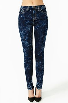 Acid Blues Skinny Jeans