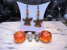 Halloween brass ghost dangle earrings by QuailHollowForgings