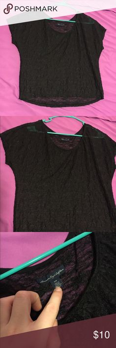 Black lace shirt Black lace-like shirt, slightly see-through. I offer discounts for bundles and welcome offers :) American Eagle Outfitters Tops Tees - Short Sleeve
