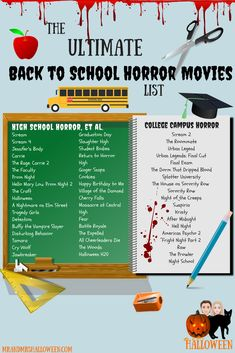 School is now in session! Grab your backpack, and print your free PDF of the ult… School is now in session! Grab your backpack, and print your free PDF of the ultimate BACK TO SCHOOL HORROR MOVIES list from Mr. Scary Movie List, Netflix Movie List, Movie To Watch List, Scary Movies, Horror Movies, Movie Tv, Horror Films List, Halloween Movies List, Funny Horror