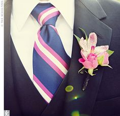 The guys wore pink orchid boutonnieres to match their sharp pink, white, and blue ties. Groom Ties, Groom And Groomsmen, Groomsmen Fashion, Corsage Wedding, Tuxedo Wedding, Orchid Boutonniere, Boutonnieres, Navy Pink, Pink White