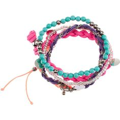 H&M 5-pack bracelet ($5.70) ❤ liked on Polyvore featuring jewelry, bracelets, accessories, pulseras, pulseiras, cerise, beaded jewelry, beading jewelry, h&m jewelry and plastic jewelry