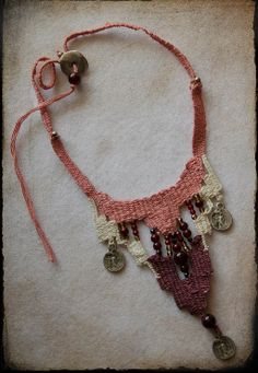 Cotton handwoven necklace /belly dance inspired/ soft pink necklace/claret…