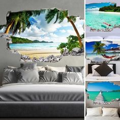 (()) 3d Wall Art, Unique Wall Art, Wall Murals, Black Wallpaper Iphone Dark, Diy Resin Table, Beach Wall Decals, Room Wall Painting, Tree Decals, Headboards For Beds
