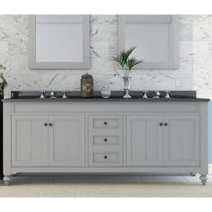 """Refresh your powder room ensemble in sophisticated style with this 72"""" Double Sink Bathroom Vanity Set. Its clean lines pair with neutral hues to give it a refined look that elevates any aesthetic from crisp contemporary to timeless traditional. Its granite countertop fuses with a pair of undermount sinks for a refined look. Use it as a canvas for a vase of faux tulips for a touch of botanical charm. An earl gray base is matched with molded details for a touch of texture while its interi..."""