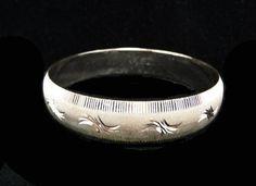 Vintage Monet Silvertone Bangle Bracelet - Steel Cut Style Feather Designs - Frosted Silver Tone