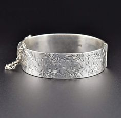 Sterling Silver Engraved Forget Me Not Bangle Bracelet  #Silver #Sterling #Engraved #Bracelet #Bangle #intage #Forget #Maple #Cluster #Simple