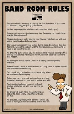 Based on the comic Band Room Rules, this hilarious 11 x 17 poster clearly explains the rules of your band room to your students so they obviously get the point. The poster is professionally printed 819021882208633597 Music Jokes, Music Humor, Funny Music, Orchestra Humor, Band Nerd, Band Puns, Tone Deaf Comics, Marching Band Memes, Marching Band Couples