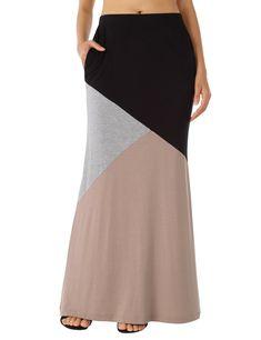 527ed529a8e WAJAT Maxi Long Skirt For Women Womens Color Block High Waist Long Maxi  Skirt Black  2 L -- For more information