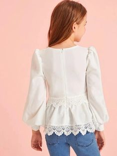 To find out about the Girls Puff Lantern Sleeve Guipure Lace Trim Top at SHEIN, part of our latest Girls Blouses ready to shop online today! Kids Dress Wear, Dresses Kids Girl, Girl Outfits, Fashion Outfits, Baby Girl Dress Patterns, Girls Blouse, Looks Chic, Types Of Sleeves, Lace Trim