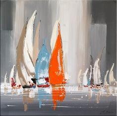 Sailing Regatta I - Abstract Acrylic Painting - M. Klein - 299 Euro