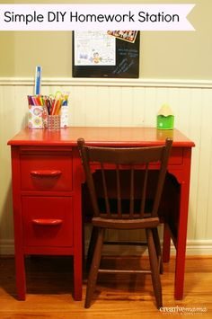 Simple Homework Station - DIY - Back to School Tips and Organization