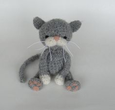 Grey cat with white paws.   Crochet and felt pattern, pdf.  From Vicky Lewis, Etsy.