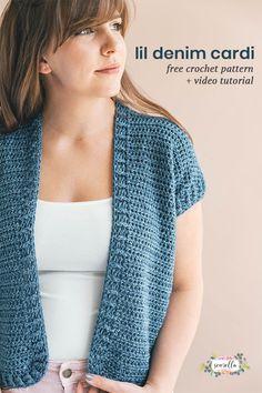 Lil Denim Cardi - free crochet pattern at Sewrella. XS-3X.