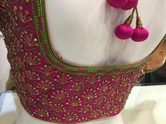 Bridal blouse from Ishithaa design house . Pattu Saree Blouse Designs, Blouse Designs Silk, Bridal Blouse Designs, Lehenga Designs, Wedding Outfits For Groom, Hand Work Blouse, Maggam Work Designs, Hand Designs, Anarkali