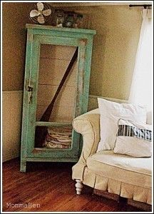 "Refurbished furniture furniture-tips...saw this and thought hmmmm.....screen door, mount mirror on back....add decorative ""feet"""