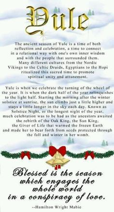 "Yule and Christmas have overlapping traditions because of their roots in history. Christians are inclined to send, ""Merry Christmas"" greetings, whereas Pagans will send ""Bright Blessings"" at Yule. Holiday Fun, Christmas Holidays, Pagan Christmas, Xmas, Merry Christmas, Christmas Sayings, Christmas Labels, Christmas Graphics, Christmas Stuff"