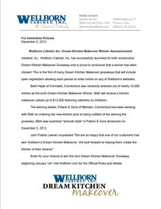 Dream Kitchen Winner Press Release