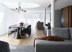 Cove House by Decus Interiors Timber Walls, Timber Flooring, Living Area, Living Spaces, U Shaped Sofa, Formal Dining Tables, Study Nook, Piano Room, Kitchen Benches