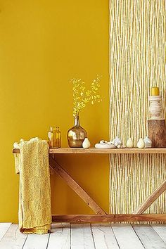 "Amaliada Texture Wallpaper from the Savor Collection by Brewster Home Fashions My Time, bath bedding' Dreamy Bath & Bedding sets "" Yellow Accent Walls, Yellow Wall Decor, Yellow Walls Living Room, Yellow Rooms, Living Rooms, Mustard Yellow Walls, Orange Walls, Yellow Interior, Yellow Painting"
