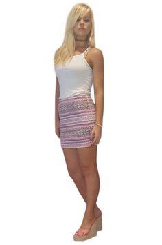 Cotton Pencil Mini Skirt in Lilac Aztec Pattern!