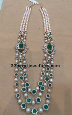 Three Layer Pearls Emeralds Long Set - Jewellery Designs