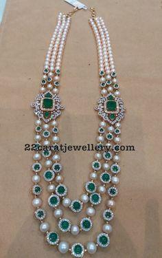 Three Layer Pearls Emeralds Long Set - Jewellery Designs