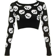 Jawbreaker Skulls Cropped Jumper (Black/White) ($39) ❤ liked on Polyvore featuring tops, sweaters, shirts, crop tops, black white shirt, crop shirts, cropped sweater, skull top and black white sweater