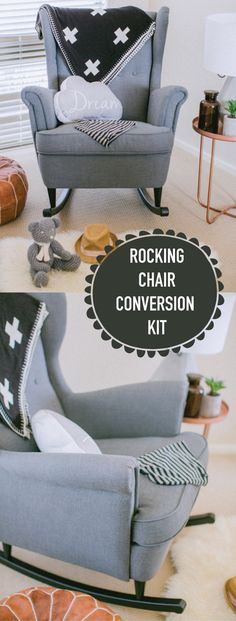 Super cool idea!! This handcrafted kit will convert the beautiful IKEA Strandmon wingback armchair into a delightfully cosy, stylish and affordable rocking chair. #rockingchair #kidsroom #nursery #afflink