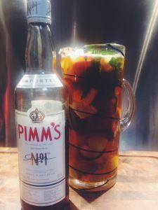Keep Calm and Have a Pimm's. The recipe is over at: http://cocktailchallenge.wordpress.com/2014/05/05/now-serving-pimms-cup/