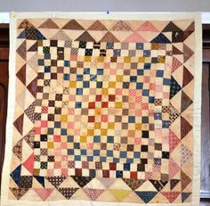 Postage Stamp and Triangle Crib Quilt, Late 19th C